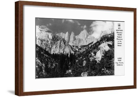 View of Mt. Whitney - Lone Pine, CA-Lantern Press-Framed Art Print