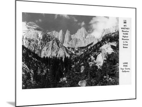 View of Mt. Whitney - Lone Pine, CA-Lantern Press-Mounted Art Print