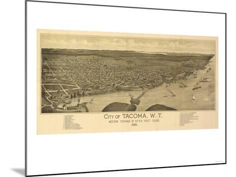Washington - Panoramic Map of Tacoma-Lantern Press-Mounted Art Print