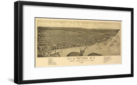 Washington - Panoramic Map of Tacoma-Lantern Press-Framed Art Print