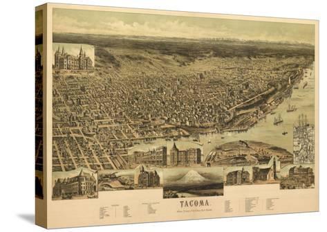 Washington - Panoramic Map of Tacoma-Lantern Press-Stretched Canvas Print