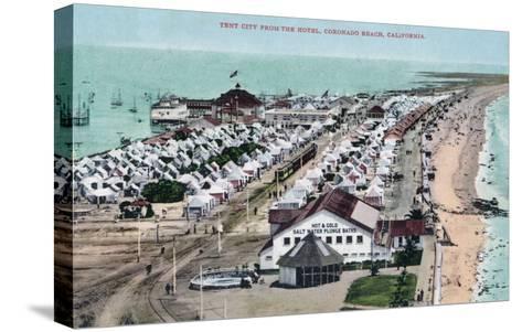 Aerial View of Tent City from Hotel del Coronado - Coronado Beach, CA-Lantern Press-Stretched Canvas Print
