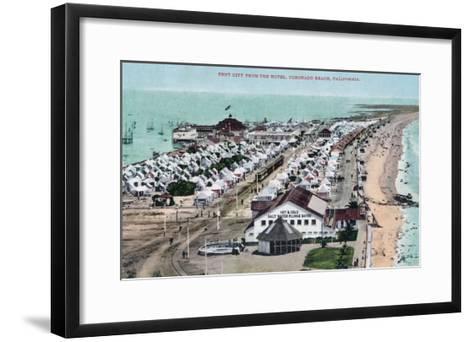 Aerial View of Tent City from Hotel del Coronado - Coronado Beach, CA-Lantern Press-Framed Art Print