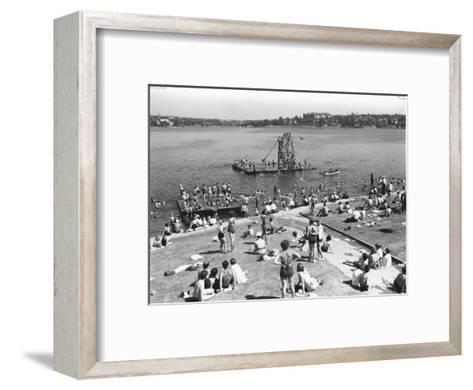 Green Lake Swimming Beach Photograph - Seattle, WA-Lantern Press-Framed Art Print