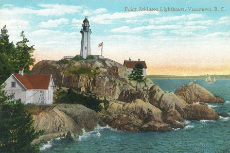View of Point Atkinson Lighthouse - Vancouver, BC, Canada-Lantern Press-Stretched Canvas Print