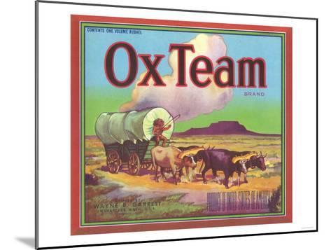 Ox Team Apple Label - Wenatchee, WA-Lantern Press-Mounted Art Print