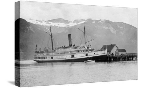View of the SS City of Seattle at the Dock - Fort Seward, AK-Lantern Press-Stretched Canvas Print