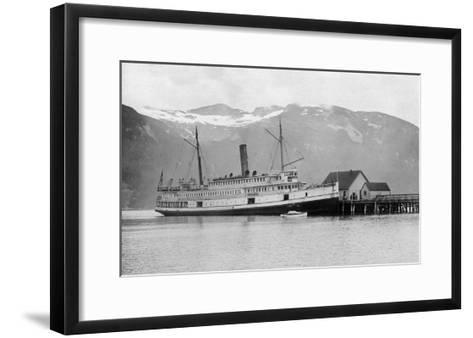 View of the SS City of Seattle at the Dock - Fort Seward, AK-Lantern Press-Framed Art Print