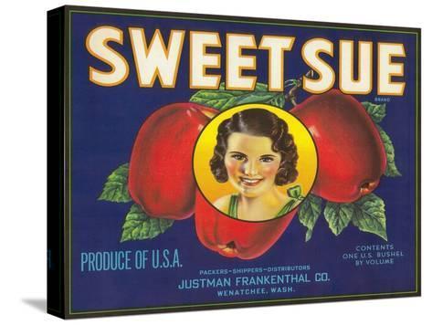 Sweet Sue Apple Label - Wenatchee, WA-Lantern Press-Stretched Canvas Print