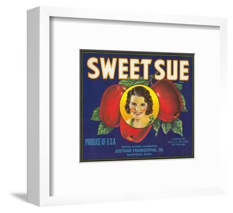 Sweet Sue Apple Label - Wenatchee, WA-Lantern Press-Framed Art Print