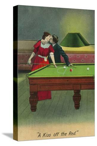 A Kiss off the Red, Couple Kissing Before Pool Shot-Lantern Press-Stretched Canvas Print