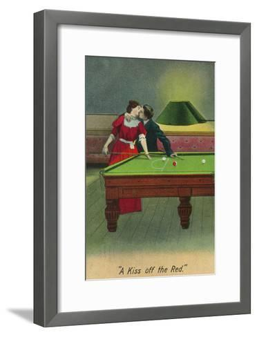 A Kiss off the Red, Couple Kissing Before Pool Shot-Lantern Press-Framed Art Print