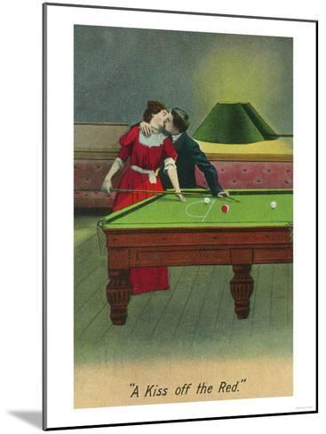 A Kiss off the Red, Couple Kissing Before Pool Shot-Lantern Press-Mounted Art Print