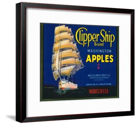 Clipper Ship Apple Label - Wenatchee, WA-Lantern Press-Framed Art Print