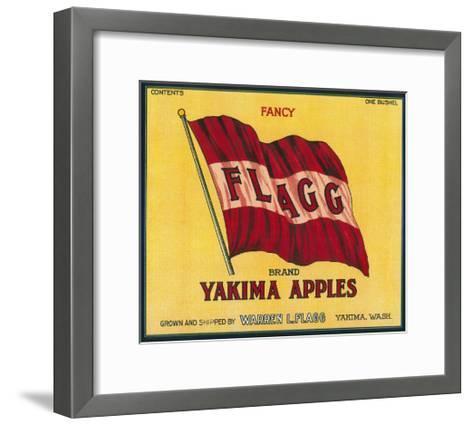 Flagg Apple Label - Yakima, WA-Lantern Press-Framed Art Print