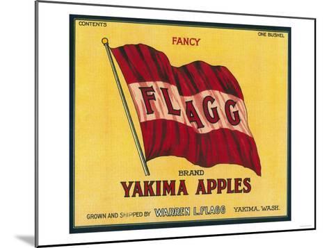 Flagg Apple Label - Yakima, WA-Lantern Press-Mounted Art Print