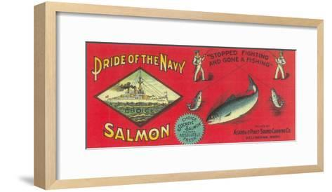 Pride of the Navy Salmon Can Label - Bellingham, WA-Lantern Press-Framed Art Print