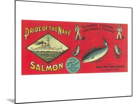 Pride of the Navy Salmon Can Label - Bellingham, WA-Lantern Press-Mounted Art Print