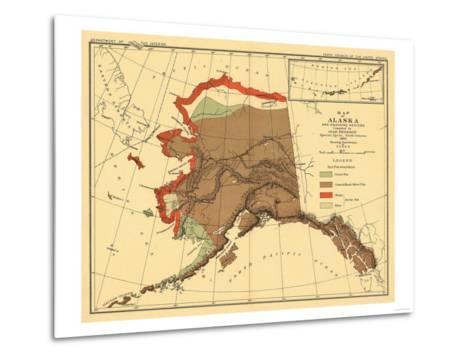 Alaska - Fox Population State Map-Lantern Press-Metal Print