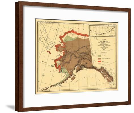 Alaska - Fox Population State Map-Lantern Press-Framed Art Print