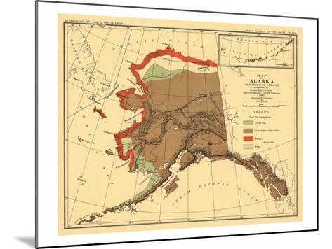 Alaska - Fox Population State Map-Lantern Press-Mounted Art Print