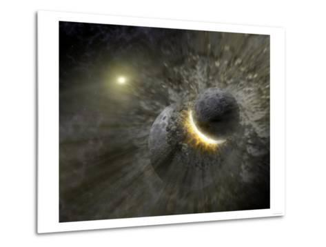 Artist's Concept Space Collision at Vega Photograph - Outer Space-Lantern Press-Metal Print