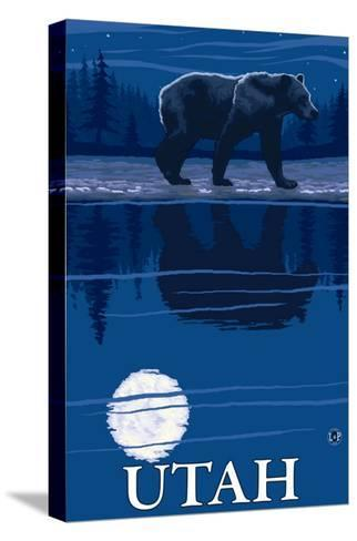 Bear in Moonlight - Utah-Lantern Press-Stretched Canvas Print