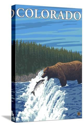 Bear Fishing - Colorado-Lantern Press-Stretched Canvas Print