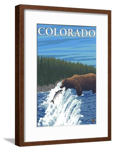 Bear Fishing - Colorado-Lantern Press-Framed Art Print