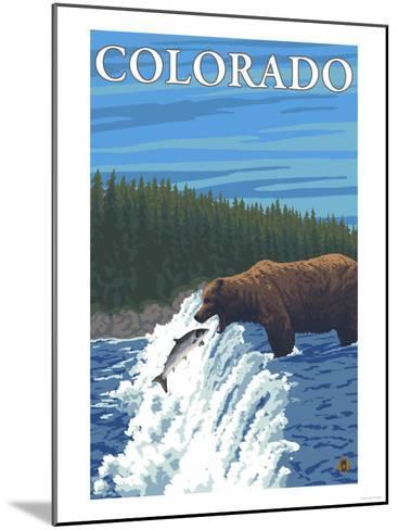 Bear Fishing - Colorado-Lantern Press-Mounted Art Print
