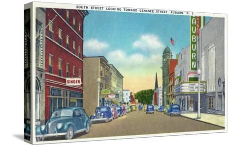 Auburn, New York - South Street View of Genesee Street-Lantern Press-Stretched Canvas Print