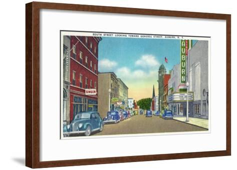Auburn, New York - South Street View of Genesee Street-Lantern Press-Framed Art Print
