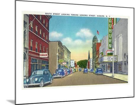 Auburn, New York - South Street View of Genesee Street-Lantern Press-Mounted Art Print