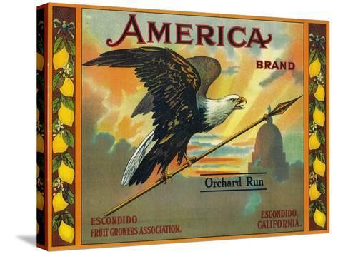 America Lemon Label - Escondido,CA-Lantern Press-Stretched Canvas Print