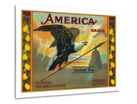 America Lemon Label - Escondido,CA-Lantern Press-Metal Print
