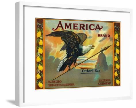 America Lemon Label - Escondido,CA-Lantern Press-Framed Art Print