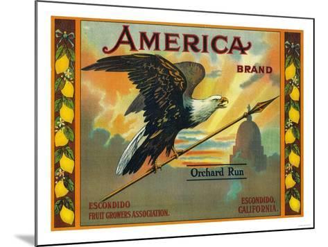America Lemon Label - Escondido,CA-Lantern Press-Mounted Art Print