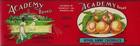 Academy Cherry Label - San Francisco, CA-Lantern Press-Stretched Canvas Print