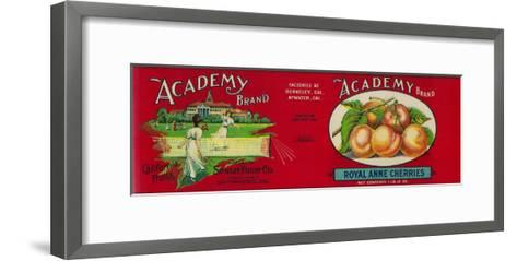 Academy Cherry Label - San Francisco, CA-Lantern Press-Framed Art Print