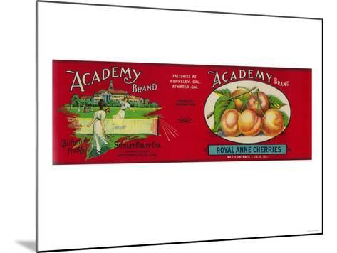 Academy Cherry Label - San Francisco, CA-Lantern Press-Mounted Art Print