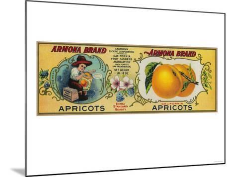 Armona Apricot Label - San Francisco, CA-Lantern Press-Mounted Art Print