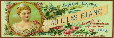 Au Lilas Blanc Soap Label - Paris, France-Lantern Press-Stretched Canvas Print