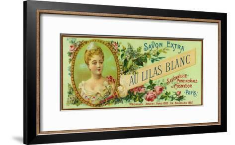 Au Lilas Blanc Soap Label - Paris, France-Lantern Press-Framed Art Print