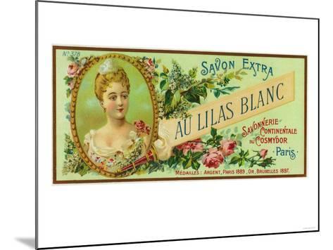 Au Lilas Blanc Soap Label - Paris, France-Lantern Press-Mounted Art Print