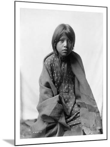 A Taos Girl Native American Edward Curtis Photograph-Lantern Press-Mounted Art Print