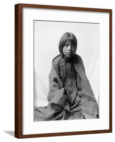 A Taos Girl Native American Edward Curtis Photograph-Lantern Press-Framed Art Print