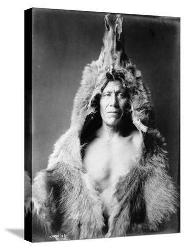 Arikara Indian Wearing Bear Skin Edward Curtis Photograph-Lantern Press-Stretched Canvas Print