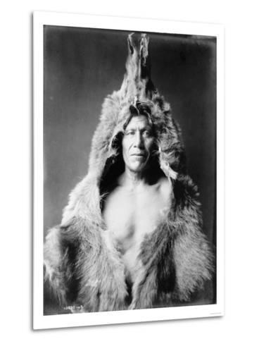 Arikara Indian Wearing Bear Skin Edward Curtis Photograph-Lantern Press-Metal Print