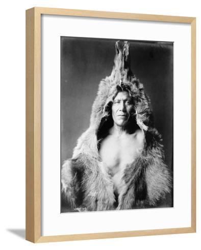 Arikara Indian Wearing Bear Skin Edward Curtis Photograph-Lantern Press-Framed Art Print