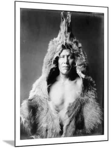 Arikara Indian Wearing Bear Skin Edward Curtis Photograph-Lantern Press-Mounted Art Print
